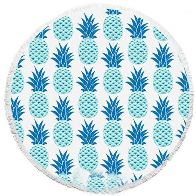 Pineapple Pattern Round Picnic Beach Blanket Pareo