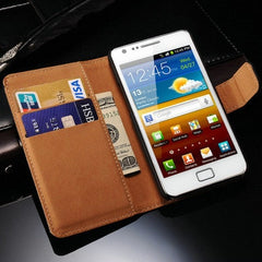 * Samsung  Case * S2 I9100 SII - Real Leather Book Style Mobile Phone Cover with Card Slot