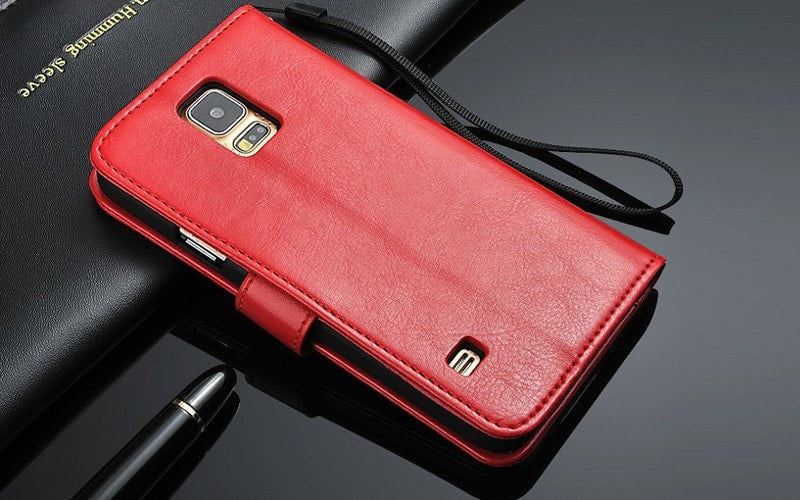 * Samsung  Case * Galaxy S5 - Wallet Flip Leather Case with Business Card holder + Strap Stand