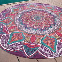 Purple Boho Gypsy Round Beach Cover up Pareo