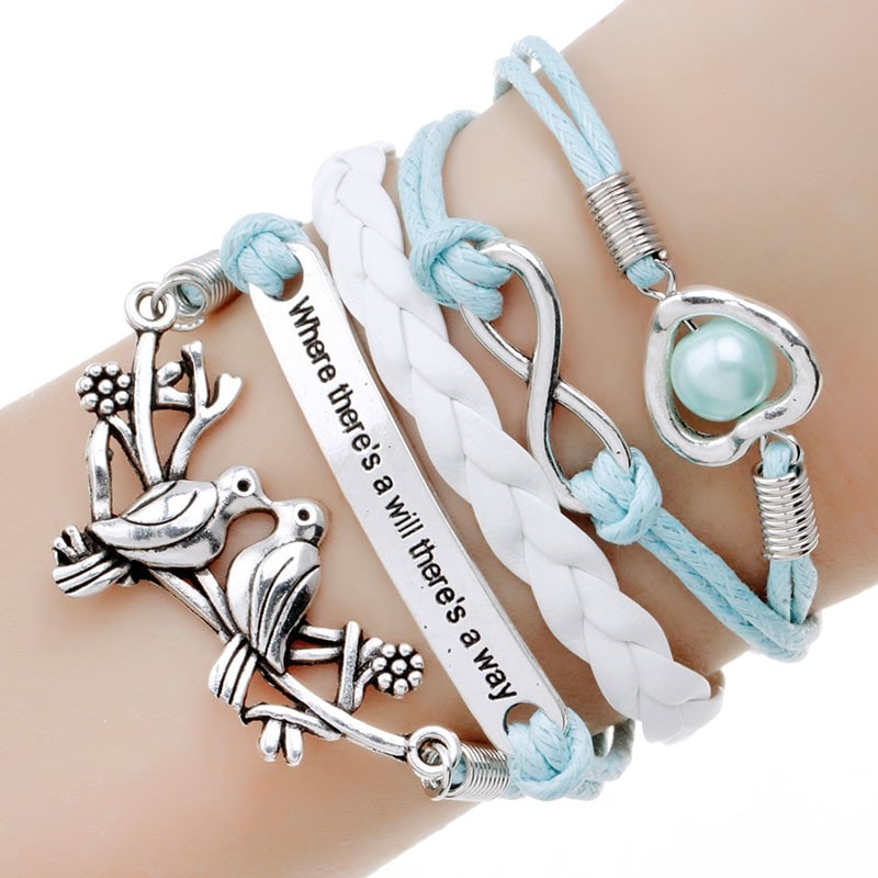 Multi-Layer Anchor Leather Charm Bracelet