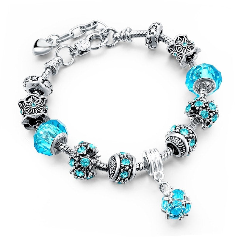 Crystal Beads Authentic Tibetan Silver Blue Charm Bracelets