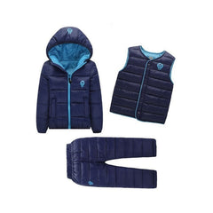 Kids Warm Jacket Coat + Vest + Pants Set