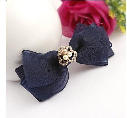 Chiffon Bow Hairpin Side Clip With Rhinestone