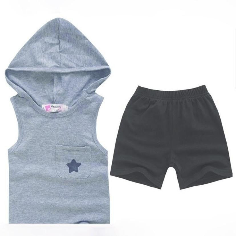 Cotton Hoodie Tops + Pants Kid Sport Outfit