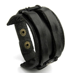 Leather Cuff Double Wide Bracelet and Rope Bangles