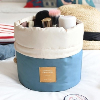 Barrel Shaped Travel High Capacity Cosmetic Bag
