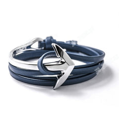 Friendship Leather Silver Multi-Layer Half Bend Anchor Bracelet