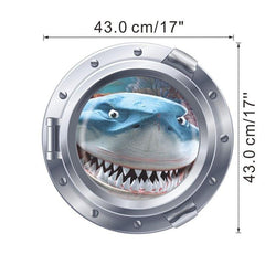 Big Teeth Shark Portholes Wall Sticker