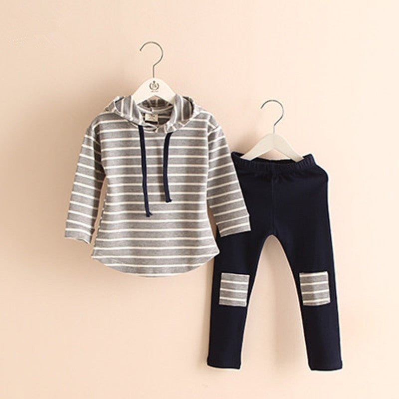 2Pcs Hooded Sweatshirts + Leggings Pants Girls