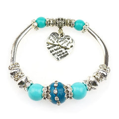Glass Beads Silver Plated Heart Charm Bracelets & Bangles