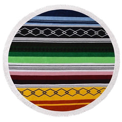 Color Stripes Graphical Round Beach Throw Blanket