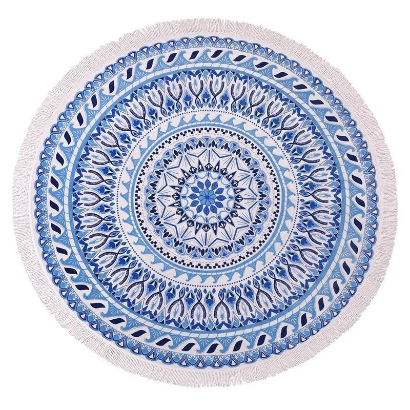 White/Blue Graphical Round Beach Blanket