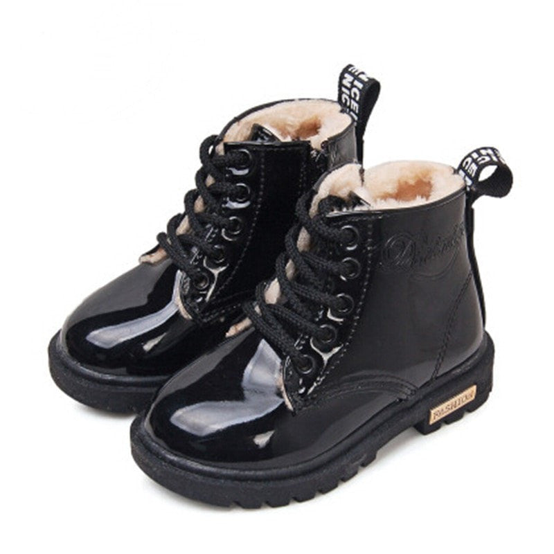 Children PU Leather Waterproof Rubber Boots (Plush Interior)