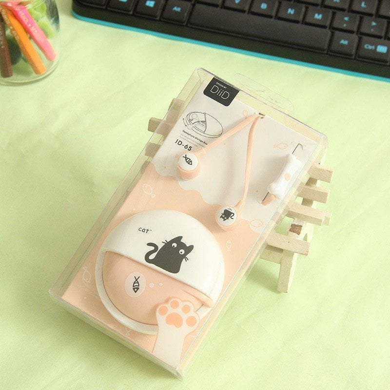 Cute Cat In-Ear Stereo Earphones With Case