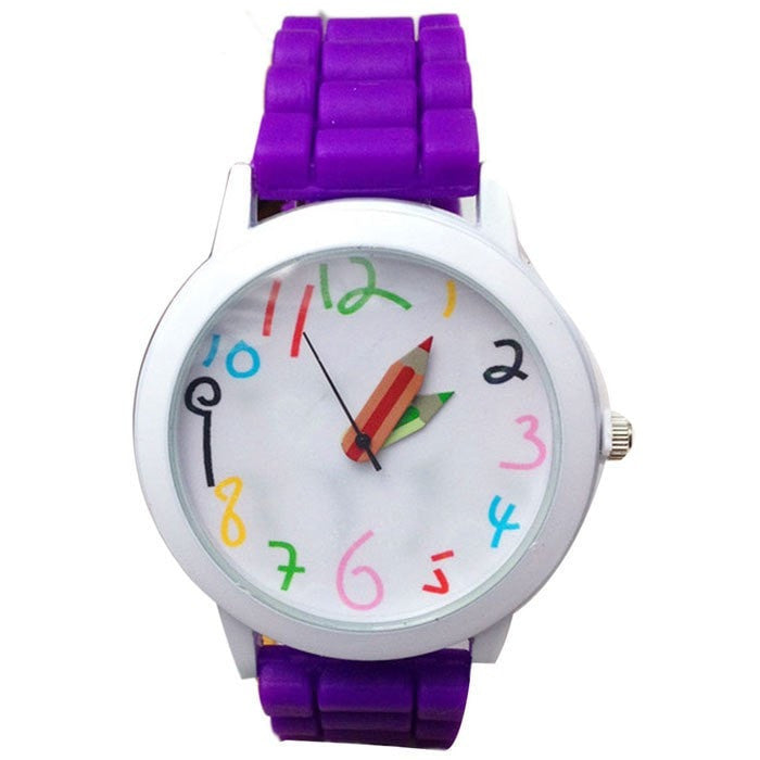 Colorful Number Quartz Silicone Jelly Wrist Watch