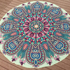 Pink/Aqua Boho Gypsy Round Beach Cover up Pareo