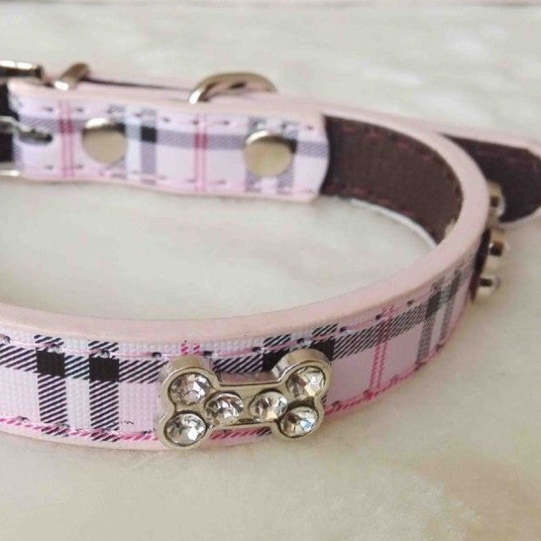 Classical Plaid Rhinestones Adjustable Leather Pet Puppy Collars