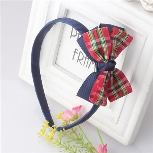 Vintage Baby Girl Soft Plaid Stripe Bow Hair Band