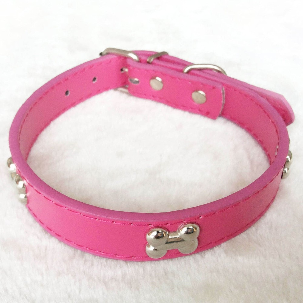 PU Leather Dog Collar For Small Pet Dogs with Bone Studs