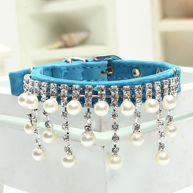 Rhinestone Pet Dog Collar with Pearl Pendant