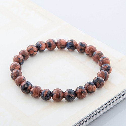 Tiger Eye Natural Stone Lava Round Beads Bracelets