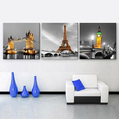 3 Panel Tower/Bridge Landscape Canvas Painting