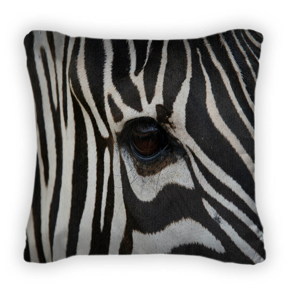Zebra Face Throw Pillow With Removable Cover Poplin 14x14