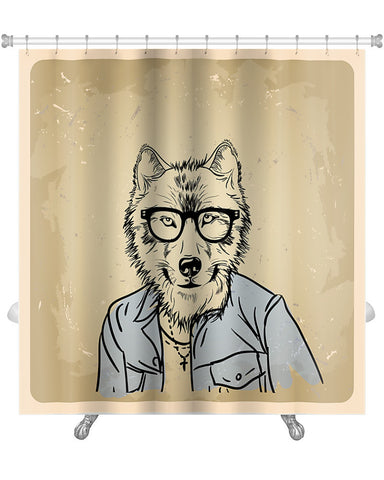 Premium Shower Curtain, Wolf Hipster In A Jacket, GN35713