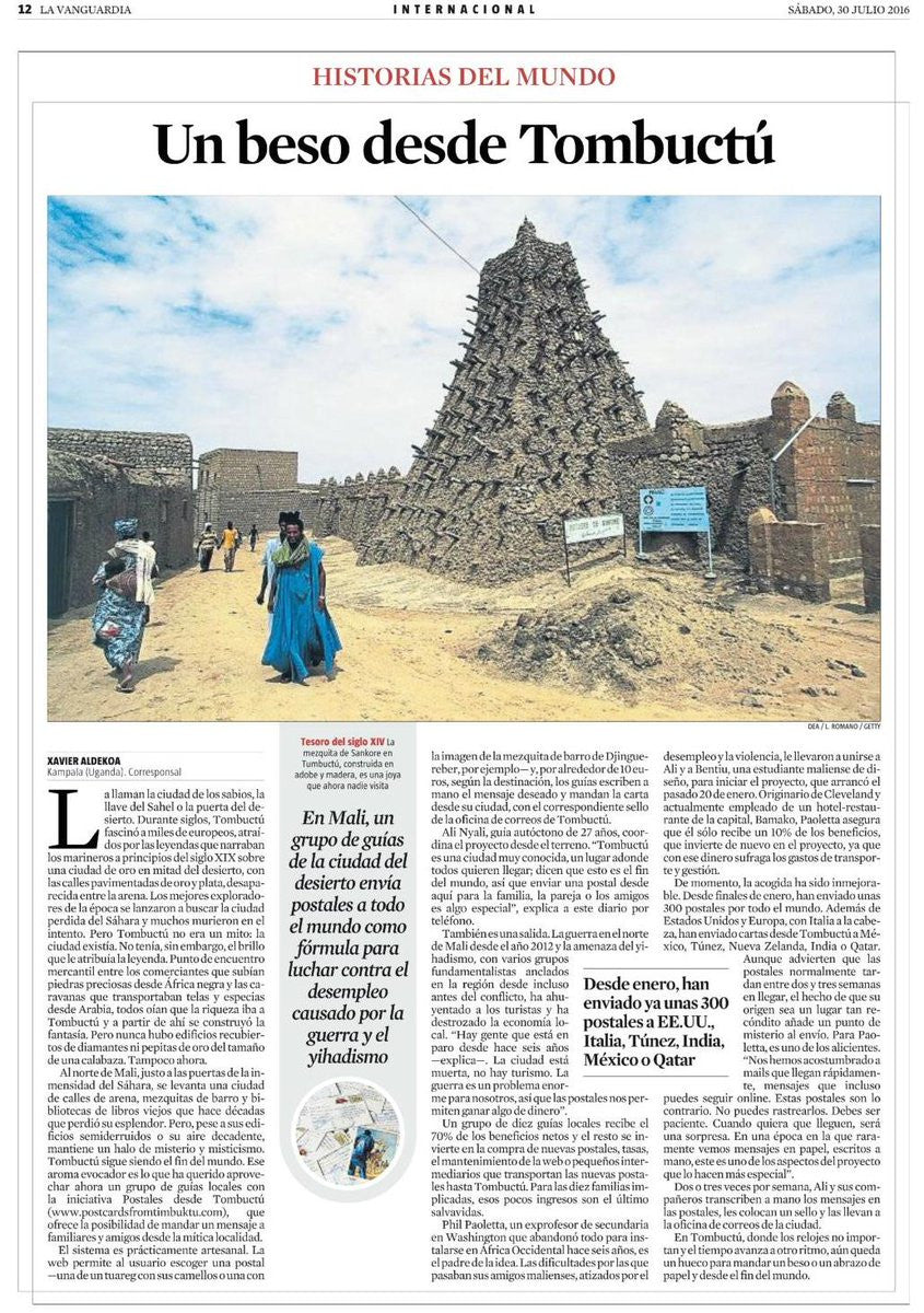 Postcards from Timbuktu in the News