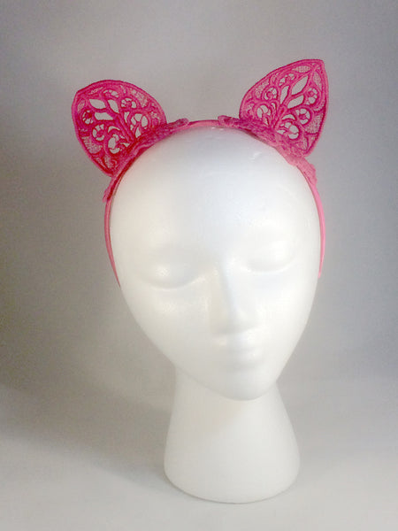 Pink Lace Kitty Cat Ears