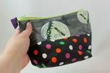 Slightly Dotty Bats Open Wide Zipper Pouch