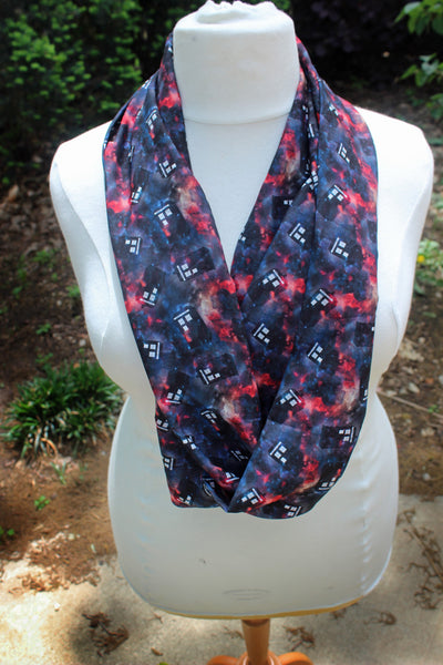 Whovian Infinity Scarf with Original Fabric Design