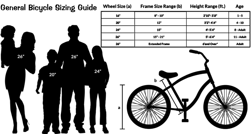 Beach Cruiser Size Chart