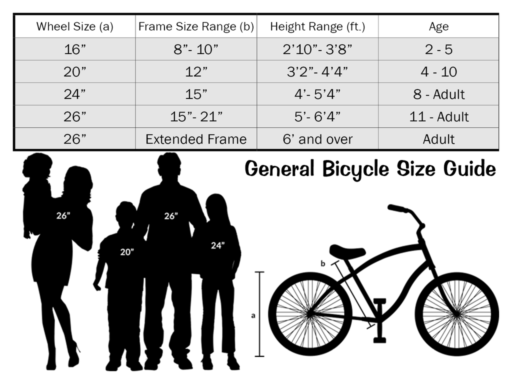General Bicycle Size Chart Journeybikes Com