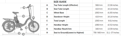 Ecotric Starfish Electric Bike Size Guide