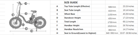 Ecotric Dolphin Size Guide