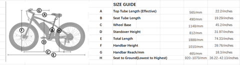 "Ecotric 26"" Fat Tire EBike Size Guide"
