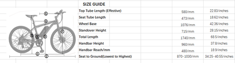 Ecotric Vortex Size Guide
