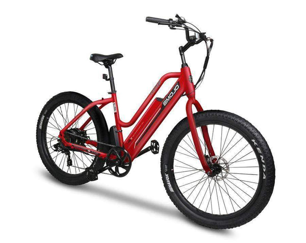Emojo Electric Bikes One Size / Matte Red / U-Lock Emojo Panther 48V Step Through Fat Tire Cruiser