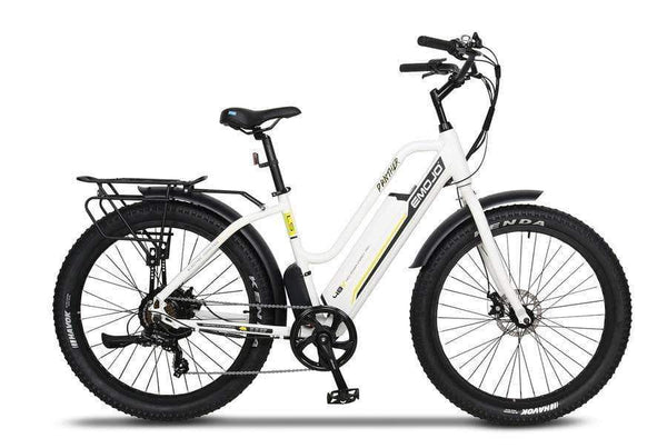 Emojo Electric Bikes One Size / White / U-Lock Emojo Panther 48V Step Through Fat Tire Cruiser