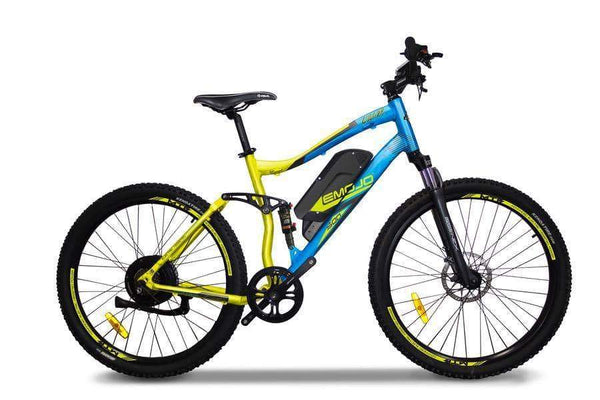 Emojo Electric Bikes One Size / Yellow / Blue Cougar 48V 500W Mountain eBike