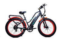 "GreenBike Electric Motion Electric Bikes One Size / Black Red GreenBike EM26 48V 750W 26"" Electric Fat Tire Cruiser Bike"