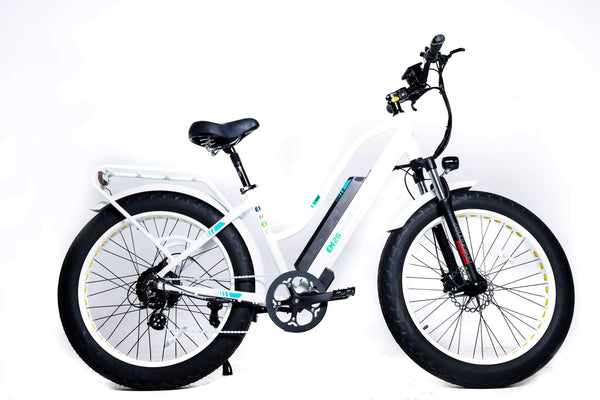"GreenBike Electric Motion Electric Bikes One Size / White GreenBike EM26 48V 750W 26"" Electric Fat Tire Cruiser Bike"