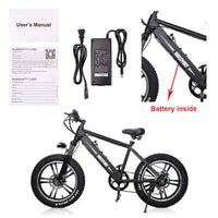 "Nakto Electric Bikes 20"" / Black Nakto Fat Tire 48V E-Bike 20"" Discovery"