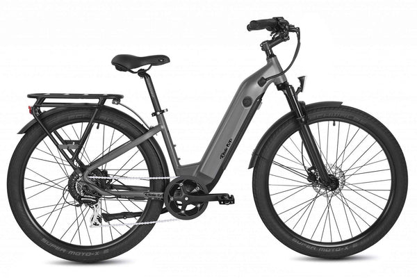 "Ride1Up Electric Bikes 27.5"" / Matte Gray Ride1Up 700 Series 48V Electric Cruiser City Bicycle - Step Thru"
