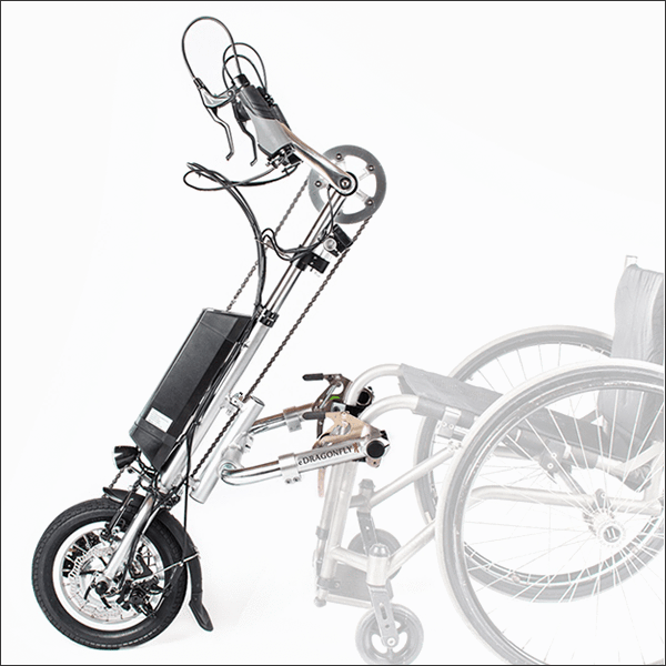 e-Dragonfly Electric Assist Attachable Hybrid Handcycle for Wheelchair