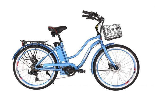 X-Treme Electric Bikes One Size / Baby Blue X-Treme Malibu Elite Max 36V Step Through Beach Cruiser eBike