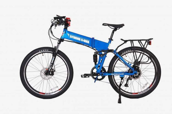 X-Treme Electric Bikes One Size / Blue X-Treme Baja 48V Folding Full Suspension Mountain eBike
