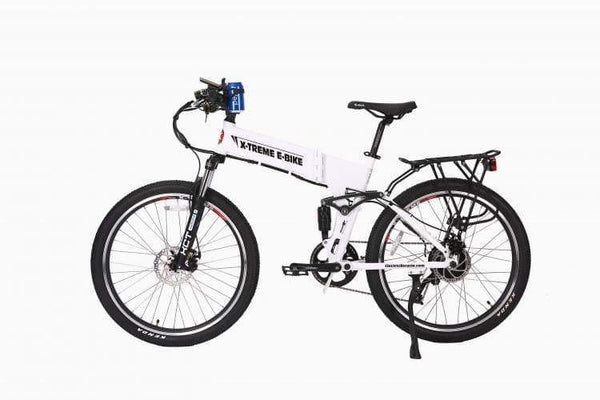 X-Treme Electric Bikes One Size / Metallic White X-Treme Baja 48V Folding Full Suspension Mountain eBike